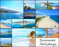 Travel picture collage. Collage of travel pictures from the holidays on the beach and sea royalty free stock photo