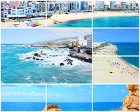 Travel picture collage. Collage of travel pictures from the holidays on the beach and sea royalty free stock photography