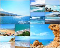 Travel picture collage. Collage of travel pictures from the holidays on the beach and sea stock photography