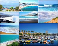 Travel picture collage. Collage of travel pictures from the holidays on the beach and sea royalty free stock image