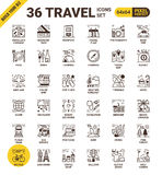 Travel pixel perfect icons Royalty Free Stock Photo