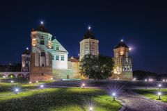 Travel Places and Torist Destinations. Picture of Renowned Mir Castle. As Former Bastion and Fortress of The Great Lithuanian Kingdom, Present Belarus Stock Photography