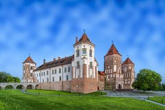 Travel Places and Torist Destinations. Picture of Renowned Mir Castle. As Former Bastion and Fortress of The Great Lithuanian Kingdom, Present Belarus Royalty Free Stock Images