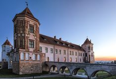 Travel Places and Torist Destinations.Renowned Mir Castle. As Former Bastion and Fortress of The Great Lithuanian Kingdom, Present Belarus.Horizontal Shot Royalty Free Stock Photo