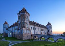 Travel Places and Torist Destinations.Renowned Mir Castle. As Former Bastion and Fortress of The Great Lithuanian Kingdom, Present Belarus.Horizontal Image Royalty Free Stock Image