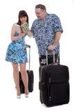Travel plan. Tourists making a travel plan Stock Image