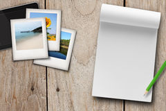 Travel plan, blank note book. Travel plan blank note book , photo and tablet on table Stock Photography