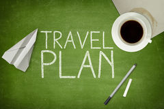 Travel plan concept on blackboard Royalty Free Stock Photo