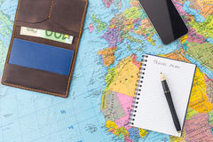 Travel Plan Concept With Notebook, Writing, Map Stock Photo