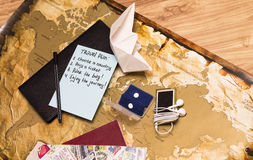 Travel plan and travel accessories on the map Stock Image