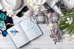 Travel plan, trip vacation accessories for summer trip Stock Photos