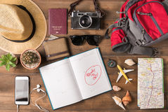 Travel plan, trip vacation accessories for trip, Stock Photo