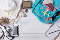 Travel plan, trip vacation accessories for trip, tourism mockup Stock Image