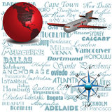 Travel by plane. Abstract colorful illustration with red globe, plane, compass and the most important cities from the world written in blue letters. Traveling Royalty Free Stock Images
