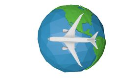Travel by plane abstract motion background blue earth globe animation royalty free illustration