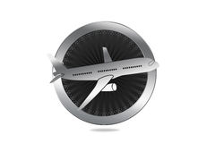 Travel / Plane / Airline Symbol in Luxury style. With circle similar to engine and plane illustration Stock Photography