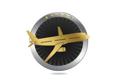 Travel / Plane / Airline Symbol in Luxury style. With circle similar to engine and plane illustration Royalty Free Stock Photo
