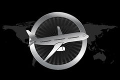 Travel / Plane / Airline Symbol in Luxury style. With circle similar to engine and plane illustration Royalty Free Stock Photos