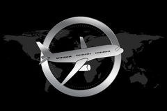 Travel / Plane / Airline Symbol in Luxury style. With circle similar to engine and plane illustration. World map in background Stock Photography