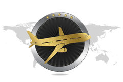 Travel / Plane / Airline Symbol in Luxury style. With circle similar to engine and plane illustration. World map in background Stock Photos