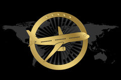 Travel / Plane / Airline Symbol in Luxury style. With circle similar to engine and plane illustration. World map in background Stock Image