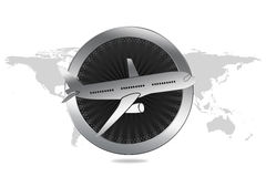 Travel / Plane / Airline Symbol in Luxury style. With circle similar to engine and plane illustration. World map in background Royalty Free Stock Photos