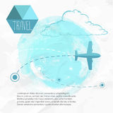 Travel by plane. Airplane on his destination routes. Watercolor blue background and flat style airplane. hand drawn sketch style cloud. Air traffic vector Stock Photos