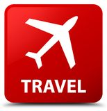 Travel (plane icon) red square button Royalty Free Stock Photo