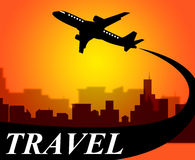 Travel Plane Indicates Travelled Explore And Voyage Royalty Free Stock Photos