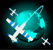 Travel plane on map Royalty Free Stock Images