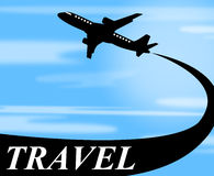 Travel Plane Means Touring Journey And Voyage Royalty Free Stock Image