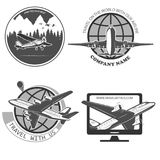 Travel by plane, quickly and safely. A set of labels for advertising companies for air transportation Stock Photography