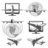 Travel by plane, quickly and safely. A set of labels for advertising companies for air transportation Royalty Free Stock Photos