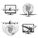 Travel by plane, quickly and safely. A set of labels for advertising companies for air transportation Royalty Free Stock Photography