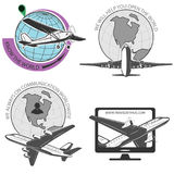 Travel by plane, quickly and safely. A set of labels for advertising companies for air transportation Royalty Free Stock Photo