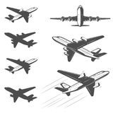 Travel by plane, quickly and safely. The silhouette of a passenger airplane in a flight. From different angles. For advertising and design Stock Photography
