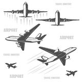 Travel by plane, quickly and safely. The silhouette of a passenger airplane in a flight. From different angles. For advertising and design Royalty Free Stock Photography