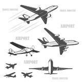 Travel by plane, quickly and safely. The silhouette of a passenger airplane in a flight. From different angles.  vintage, small aircraft. For advertising and Royalty Free Stock Images