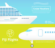 Travel with plane and ship Royalty Free Illustration