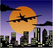 Travel by plane sun building Royalty Free Stock Image
