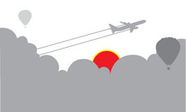 Travel plane tourism sky background. Illustration of airplane flying in gray sky Royalty Free Stock Image