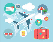 Travel by Plane vector illustration. Plane Royalty Free Stock Images