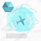 Travel by plane. Watercolor blue background and flat style airplane vector illustration