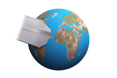 Travel, planet earth, word. Plane Made of Paper as a Synonym for Business Travelling, Vacations, Immigration, etc Royalty Free Stock Photo