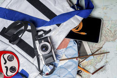 Travel planning. Asian Travel Planning, flat-lay shot Stock Images