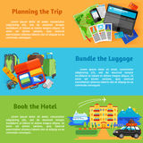 Travel planning booking flat banners set Stock Photography