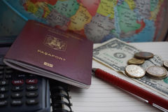Travel planning and budgeting. Concept royalty free stock photos