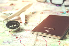 Travel planning close up passport & x28;soft focus& x29; Royalty Free Stock Images