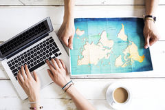 Travel planning on computer Royalty Free Stock Photography