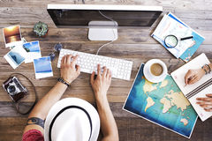 Travel planning on computer Stock Image